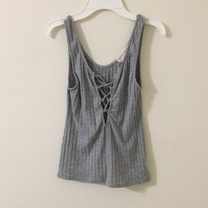 Project social t tie up ribbed tank